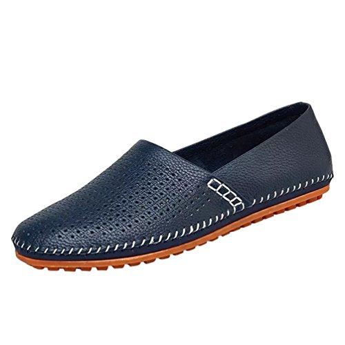 Dooxi Hommes Mode Respirant Mocassins Chaussure Décontractée Entreprise Plat Loafers Chaussures Bleu1