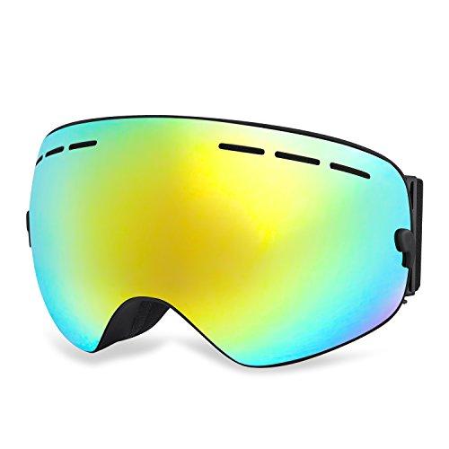 HAMSWAN Occhiali da Sci Antinebbia OTG con Protezione UV400 Dotati di Doppia Lente Staccabile per L'inverno e per gli Sports Invernali Fuori Porta ...