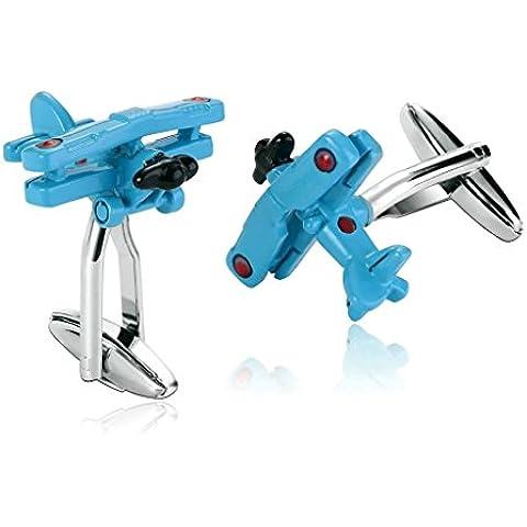 Daesar 2 Piezas Gemelos Hombre Rodio Plateado Azul Especial Halcón Aire Arte Plano Camisa Alianzas de