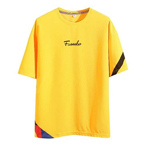 Fannyfuny Rundhals Kurzarm Basic Tops t Shirt Herren O Neck Blumendruck Slim Fit Kurzarm Tee Männer Outdoor Casual Lose Oversized Shortsleeve Sommer