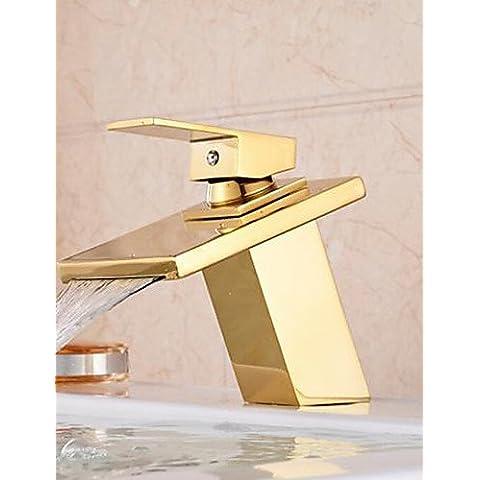 Promoción cascada baño toque de oro solo manejar vanidad fregadero grifo mezclador simple montaje de cubierta elegante, clásico y lujoso diseño duradero