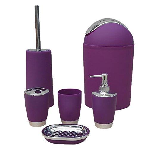 D DOLITY 6tlg Badeset Badezimmer zubehör Set Seifenspender Halter WC Bürste Badgarnitur Set - Lila, 6pcs/Set