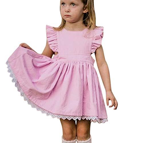 LEXUPE Sommer-Kleinkind scherzt Baby-Normallack-Rüsche-Spitze-Kleid-Kleidung Beachwear(Rosa,80)