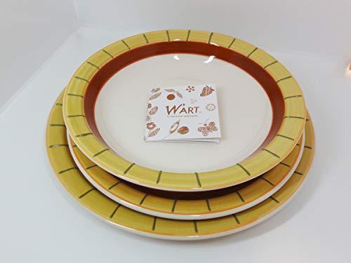 Wald Servizio Piatti Completo per 6 Persone in Ceramica Artistica 18 Pezzi: 6 Piatti Piani, 6 Piatti Fondi, 6 Piatti Frutta