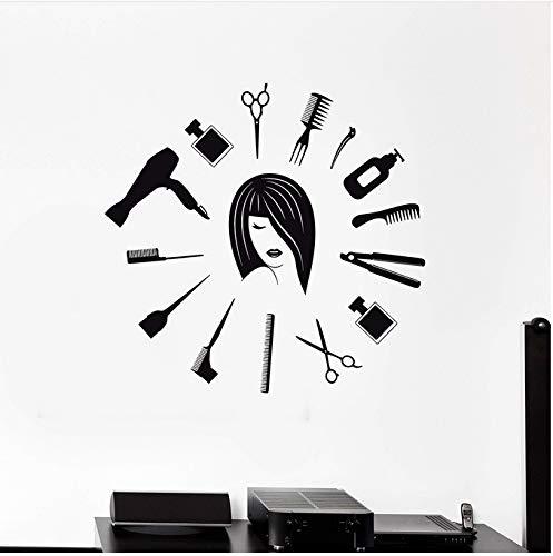 YXBB Friseursalon Werkzeuge Friseur Weibliche Designer Vinyl Wanddekor Kunst Wohnkultur Wandbild Wandaufkleber Abnehmbare 57x60 cm
