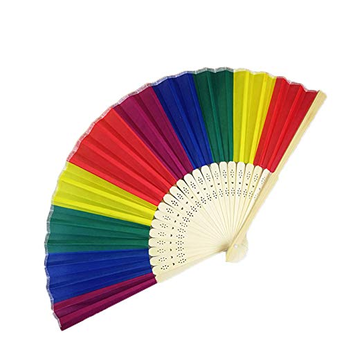 AIUIN Regenbogen Damen Handfächer Chinesischer Blumen Stoff Fächer Ideal als Hochzeit Geschenk Party Kostüm (Style 3)