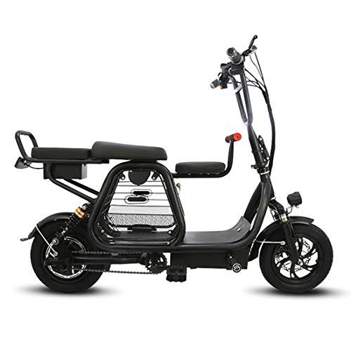 JH Bici elettrica, Città della Bicicletta 400W Motore Elettrico Bike 30-60Km Portatile Padre-Figlio Biciclette 12 Pollici,Nero,8amps