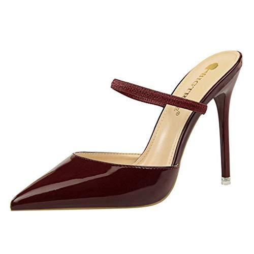 Frauen Pumps Knöchelriemen High Heel Sandalen Spitz Stiletto Elegante Büroarbeitsschuhe