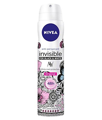 Nivea 6 x 250 ml Women's Anti-Perspirant Spray, Invisible for Black and White Original, 48 Hours Deodorant