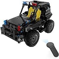 THMJIE Moderna 3D Montado eléctrico Coche campo creativo bloques armados Patrulla de coches de juguete modelo de 2.4G cuatro vías de control remoto de coches Puzzle Presente de Navidad de los niños de