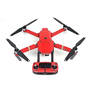 Remote Controller Battery Arm Drone Stickers Waterproof Carbon Graphic Skin Decals Wrap Fuselage Body Pasters for DJI MAVIC PRO (Red)