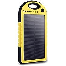 Cargador Solar de 5000mAh YOKKAO Batería Solar Externa portátil 2 USB con LED (Amarillo)