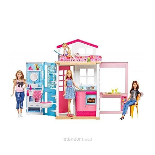Barbie Mattel DVV48-2-Etagen Ferienhaus und Puppe, Ankleidepuppen-Zubehör -