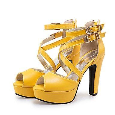 LvYuan Sandalen-Büro Kleid Party & Festivität-PU-Blockabsatz-Andere-Schwarz Gelb Weiß Black