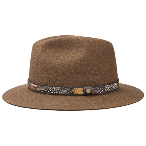 Stetson Feather Trim Traveller Filzhut Hut Herrenhut Wollfilzhut Travellerhut Damenhut Wollfilzhut Outdoorhut (M/56-57 - braun-meliert) (Trim Fedora)