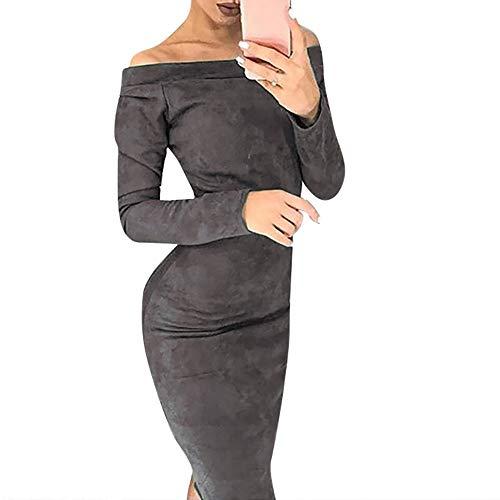 Xmiral Damen Kleid Mode Schlank Suede Langarm Slash Neck Solid Off Schulter Bodycon Party Kleider (L,Grau)