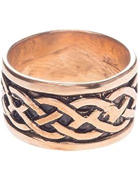 WINDALF Breiter Ring ~ TARANIS ~ h: 1.1 cm - Keltischer Knoten - Bronze (rb281)