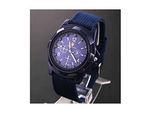 Modische Uhr Sportuhr Schweizer Militär Armee Pilot Stoffband Quarz Blau Für Männer