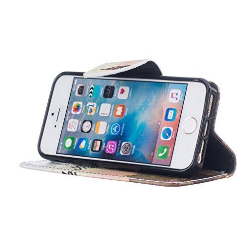 Trumpshop Smartphone Case Coque Housse Etui de Protection pour Apple iPhone 5/5s/SE + Fleur de Prunier + Mode Portefeuille PU Cuir Avec Fonction Support Anti-Chocs Trois jours à New York
