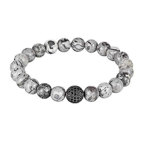 Schwarze Kugel Bettelarmband Natursteinmatte Perlenarmbänder, As464