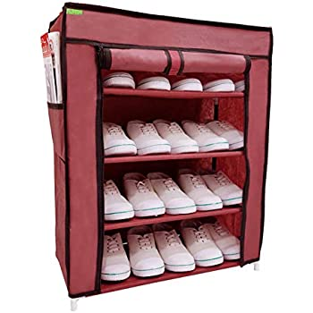 Flipzon Multi-Purpose Shoe Rack with 4 Fabric Shelves Organiser (Maroon)