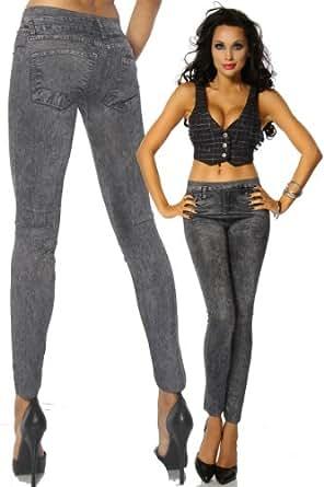 Silamoda - Femme - Legging extensible façon jean gris - Unique - Gris