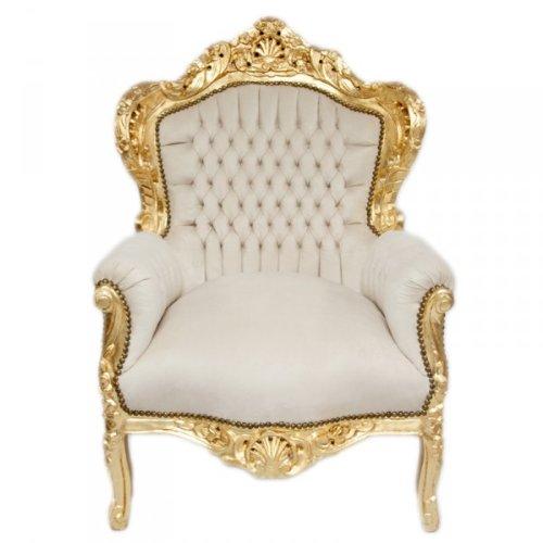 Casa Padrino Barock Sessel 'King' Creme/Gold Samtstoff