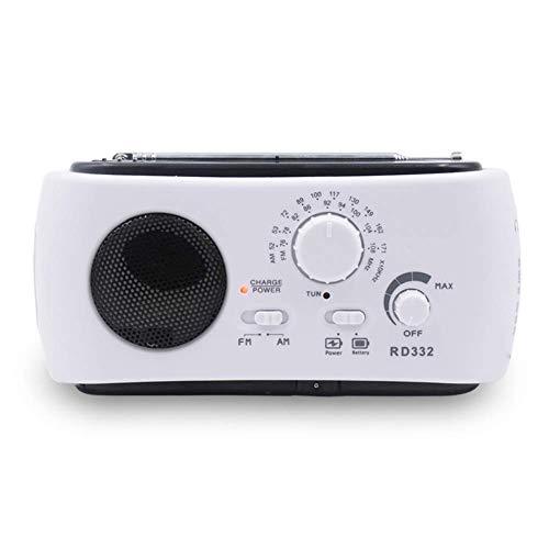 Lanceasy 1 Stück Tragbar Solar Radio Hand Kurbel Betrieben mit Taschenlampe USB Ausgang Anschluss - Weiß - Kurbel Radio Beste