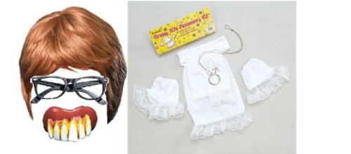 BABY FANCY DRESS COSTUME ACCESSORIES WIG GLASSES TEETH 60's 6 PIECE SET ()