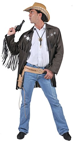 Karneval-Klamotten Cowboy Mantel Herren Cowboy Jacke Männer braun mit Fransen und Sheriff Sternen Herren-Kostüm Größe - Kostüm Mit Leder Jacken