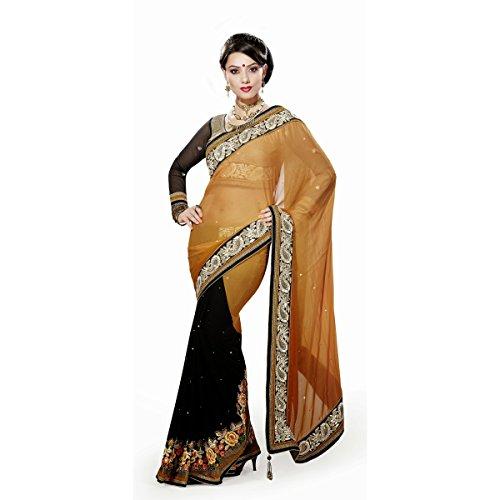 Triveni Damen Indisch Schwarz Bamber tywear gestickte indischen Sari - TSMH3017 (Gestickte Anzug Perlen)