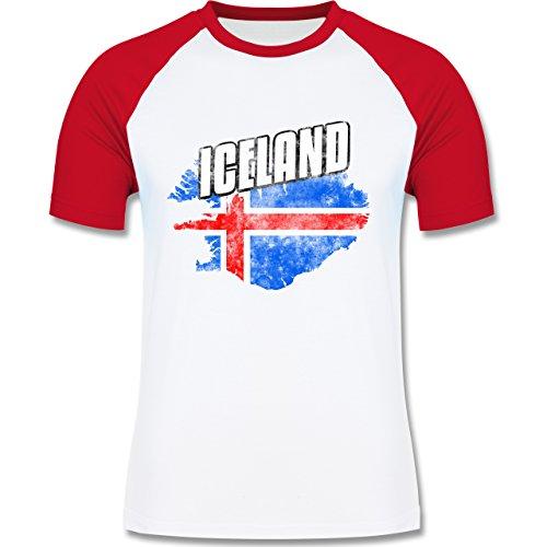 Shirtracer Fußball-WM 2018 - Russland - Iceland Umriss Vintage - Herren Baseball Shirt Weiß/Rot