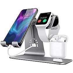 Bestand [3 en 1] Aluminium Apple iWatch Support, Airpods Chargeur Station, Apple watch chargeur station en Aluminum pour Airpods/iWatch/ iPhone/ iPad-Gris