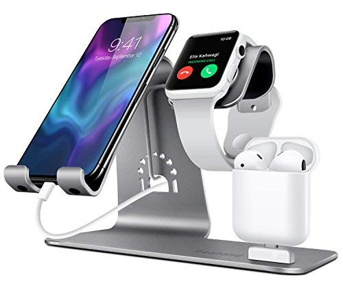 Bestand 3 in 1 Stand iWatch Apple, Dock per caricabatterie Airpods, Supporto tablet per desktop per Airpods, Apple Watch / iPhone X/8Plus/8/ iPad, Grigio