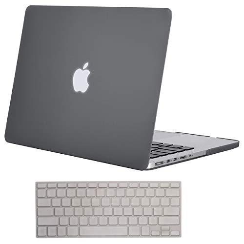 MOSISO Tastatur-Abdeckung mit Muster, kompatibel mit MacBook Pro 13 Zoll, 15 Zoll (mit oder ohne Retina-Display, 2015 oder älter), MacBook Air 13 Zoll, Blau und Weiß mit Spiralrippel grau (Macbook Pro 2012 Tastatur-abdeckung)