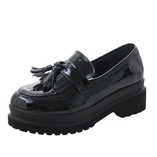 Binying Femme Richelieu Rétro LAngleterre de Style Chaussures Bateau Plateforme Noir