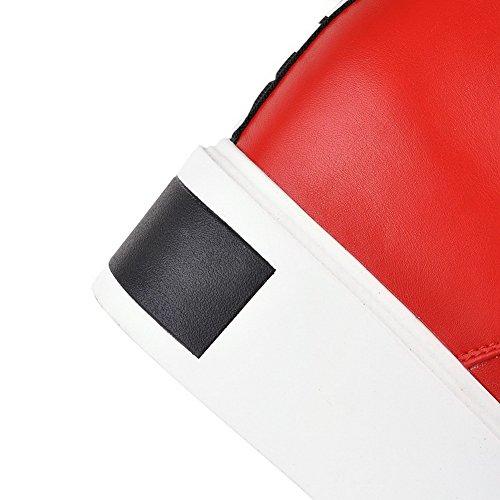 VogueZone009 Donna Punta Tonda Bassa Altezza Cuneo Colore Assortito Stivali Rosso