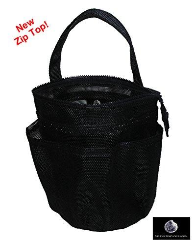Saltwater Canvas Sole Leinwand, LLC Zip Top Mesh Dusche Tasche, klein, schwarz, für Wohnheim & Gym - Canvas-top-zip Tote -