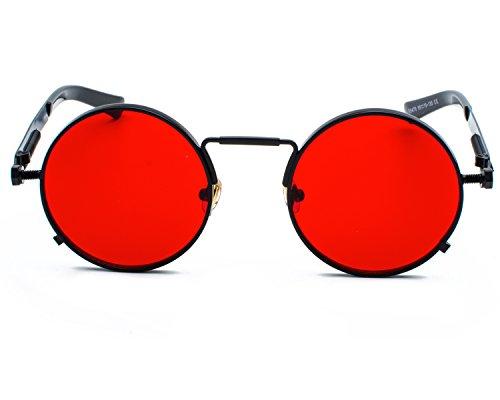 Red Peony Runde Steampunk Polarisierte Sonnenbrille Metall Rand Rahmen Flip up Linse für Herren Damen UV400 (C/schwarz/rot, Nicht polarisiert)