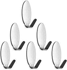 vinayaka mart Steel Adhesive Wall Hooks(6 Pcs) for Room, Kitchen, Bathroom, Clothes Etc. Load Capacity 300 Gms (Oval)