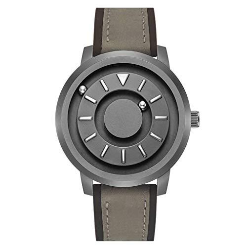 COAOC Magnetisch Herren Uhren Mode Wasserdichte Chronograph Quarz Uhr für Mann Luxus Business Schwarzem Edelstahlgewebe F Leather