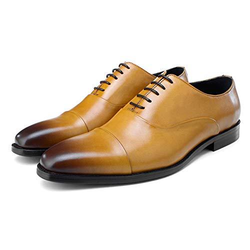 Formale Schuhe 4 (Vintage Herren Leder Oxford Schuhe Klassische Schnürschuhe Formal Business Kleid Hochzeit Schuhe, 4 Farben,Brown-39)