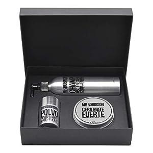 Pack regalo para hombre: champú, cera y polvos para peinado   Kit de cuidado personal para hombre Mr. Robinson Belfort   Cuidado para el pelo profesional   Sin parabenos