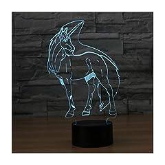 Idea Regalo - Lampade 3D Illusione Ottica Luce Notturna, EASEHOME Deco Lampada LED da Tavolo Illuminazione Luce di Notte 7 Colori Controllo Tattile Lampada Decorazione da Comodino con Cavo USB, Unicorno