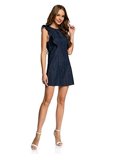 Oodji ultra donna abito in jeans con volant e cerniera, blu, it 42 / eu 38 / s