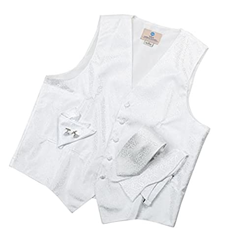 VS1004-XL Blanc Motif Gilet Cravate Boutons de manchette Mouchoir Hommes par Y&G