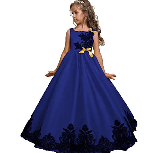 Mädchen Kinder Lace Up Tüll Hochzeit Brautjungfer Kommunion Party Bowknot Kleid Formale Pageant...