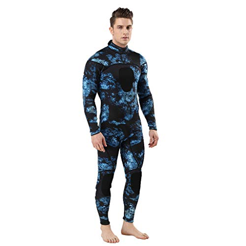 Camo Neopren Surfen Anzug Neoprenanzug Camouflage Frogman Einteiler Scuba Thermal Tauchen Neoprenanzug(Dunkler Blau,X-Large) ()