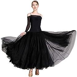 JTSYUXN Élégante Robe De Danse De Ballet Moderne Moderne pour Les Femmes Sling À Manches Longues Costumes , Sexy Dos Nu Tenues De Danse De Salon (Color : Black, Size : S)