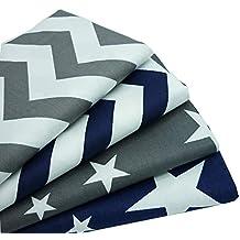 4 pedazos 40 cm * 50 cm gris azul oscuro estrellas Chevron Impreso Tela de algodón